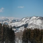 Panoramic vew of the mountain range, with Iide-san far left at 2100m