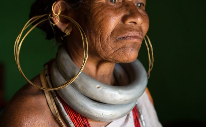 Woman from the Gadaba tribe wearing heavy aluminium rings weighing around 800g each