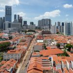 Juxtaposition of Old and Modern Singapore.  Aerial view from a public housing highrise flat in Chinatown.