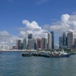 Singapore's container terminal, bumboats and commercial barges in the Marina Bay waters of Singapore.
