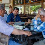 Men playing okey, Uchisar teahouse