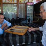 Men playing backgammon, Uchisar teahouse
