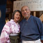 Soba master Tatsuru-san and his wife Midori-san at Rakuichi Soba, Niseko