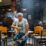 Man smoking nargile (hookah pipe), Istanbul