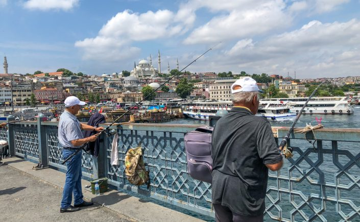 Men fishing on Galata Bridge, Istanbul