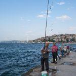 Men fishing on Uskudar pier