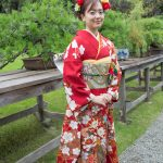 Lady in traditional kimono, Happo-en Gardens, Tokyo