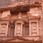 Close up of the upper level of the Treasury, Petra