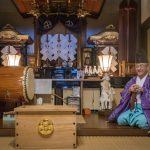 Gokui-san performing Shinto ceremony at Gokui Inn, Nagano
