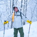 82 year old Nito-san, snow-shoe trek in Natagiri Pass, Tohoku